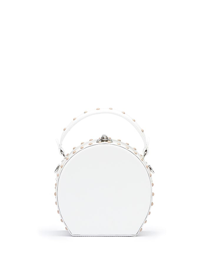 The white brushed calf Mini Bertoncina bag by Bertoni 1949