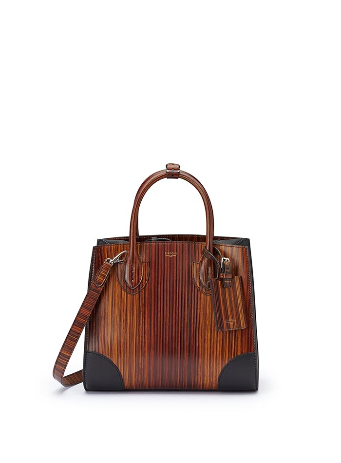 The wood effect french calf wood leather Darcy medium bag by Bertoni 1949