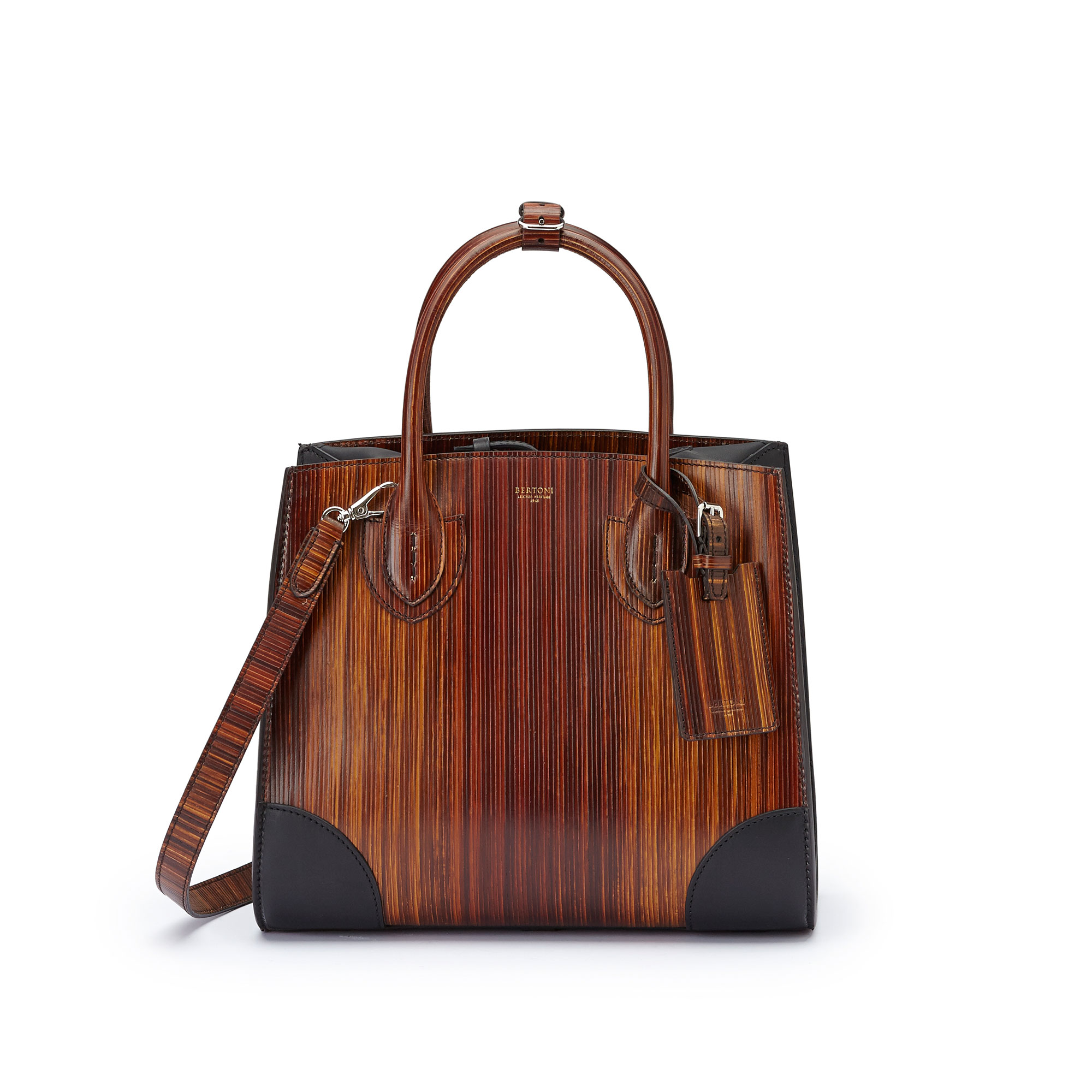 The wood effect french calf wood leather Darcy medium bag by Bertoni 1949 01