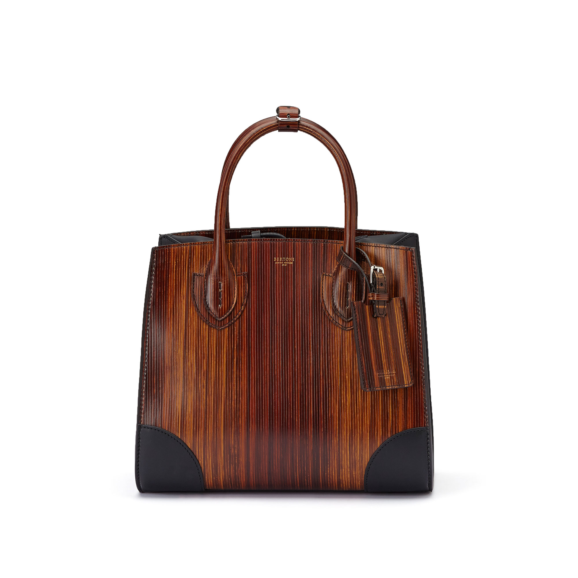 The wood effect french calf wood leather Darcy medium bag by Bertoni 1949 02