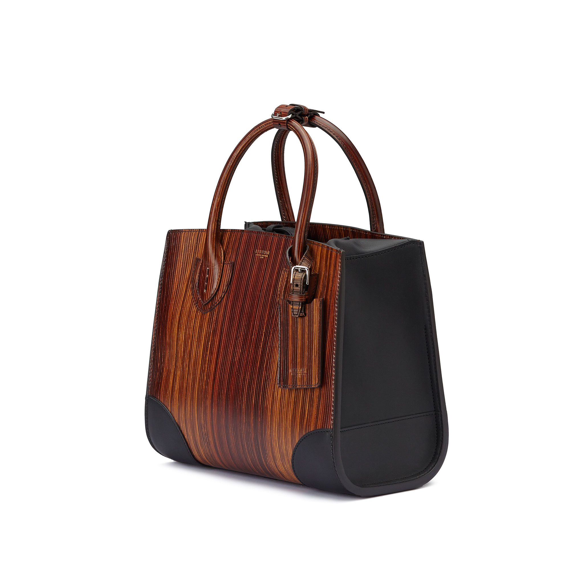 The wood effect french calf wood leather Darcy medium bag by Bertoni 1949 03