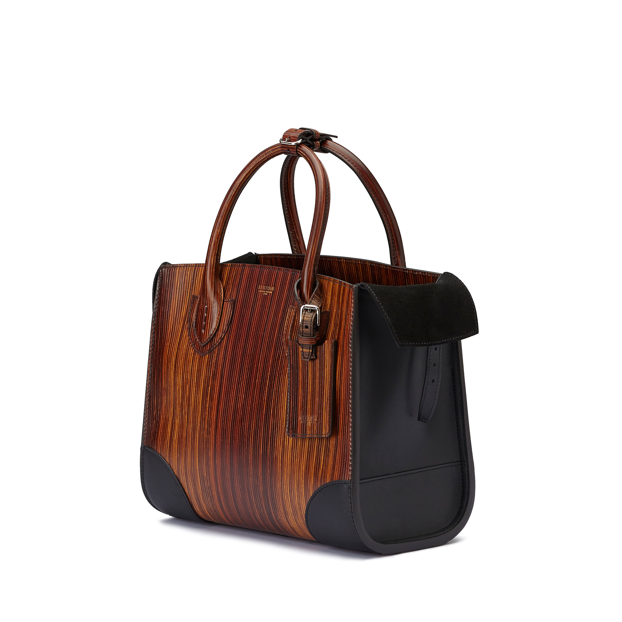 The wood effect french calf wood leather Darcy medium bag by Bertoni 1949 04