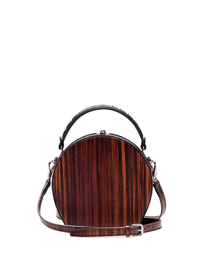 The wood effect french calf and wood leather Regular Bertoncina bag by Bertoni 1949