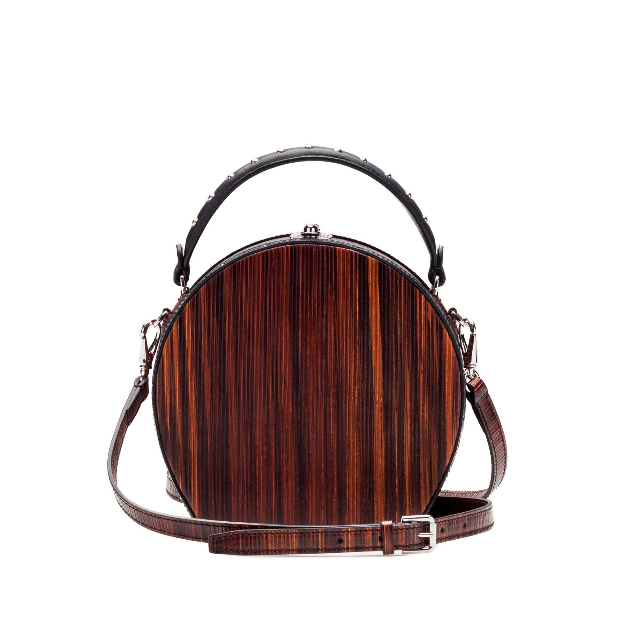 The wood effect french calf and wood leather Regular Bertoncina bag by Bertoni 1949 03