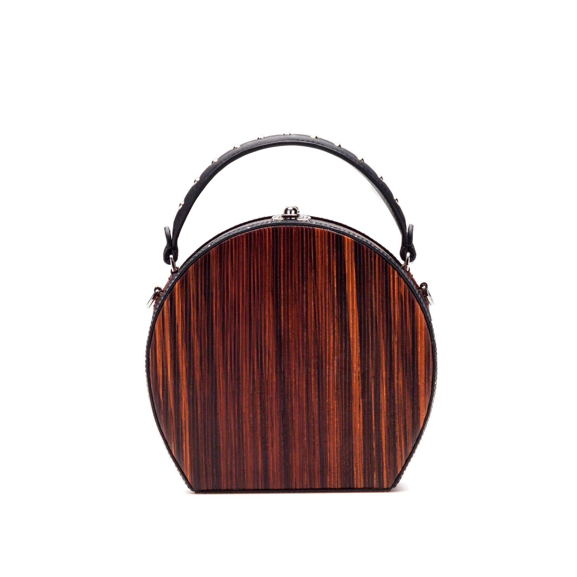 The wood effect french calf and wood leather Regular Bertoncina bag by Bertoni 1949 01