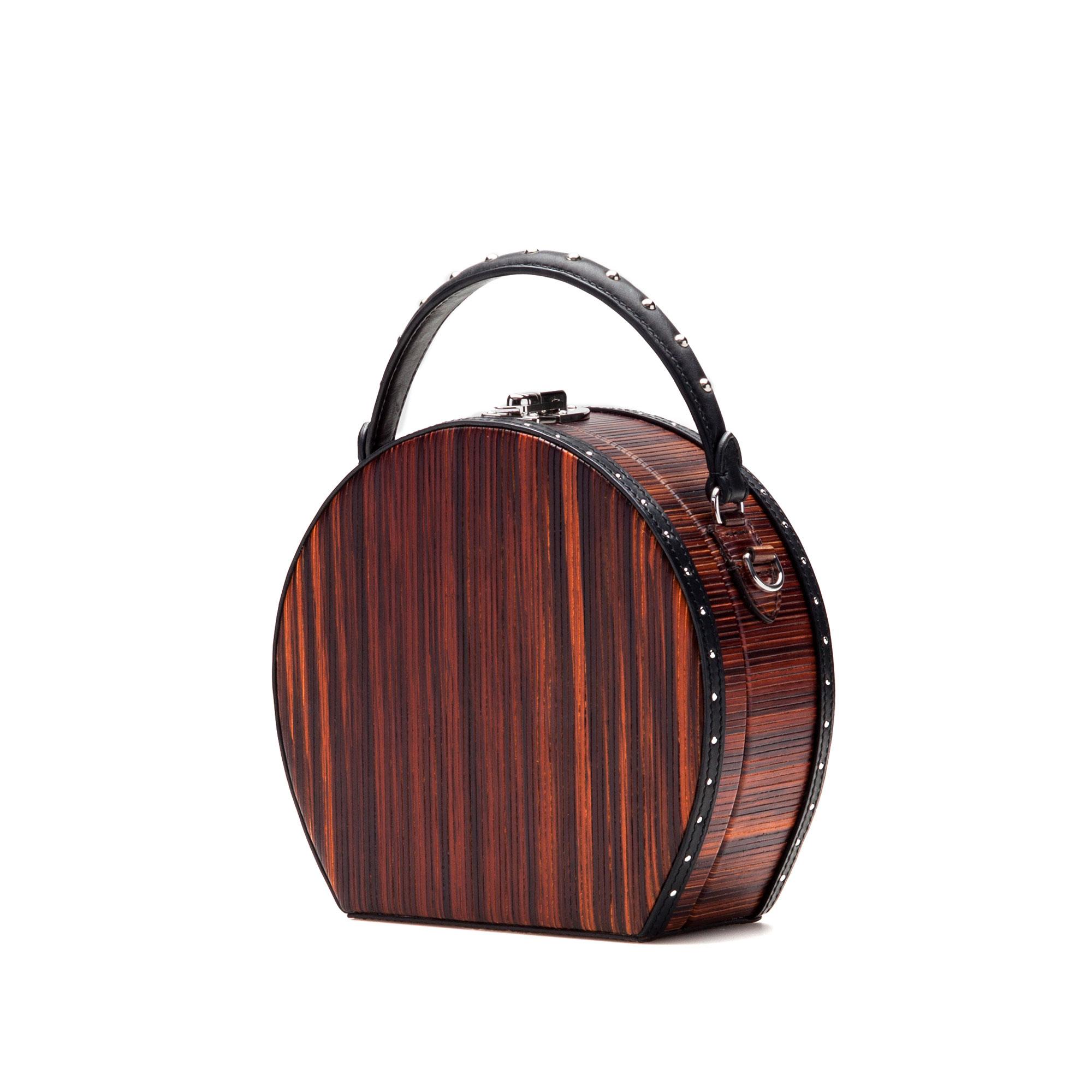 The wood effect french calf and wood leather Regular Bertoncina bag by Bertoni 1949 02