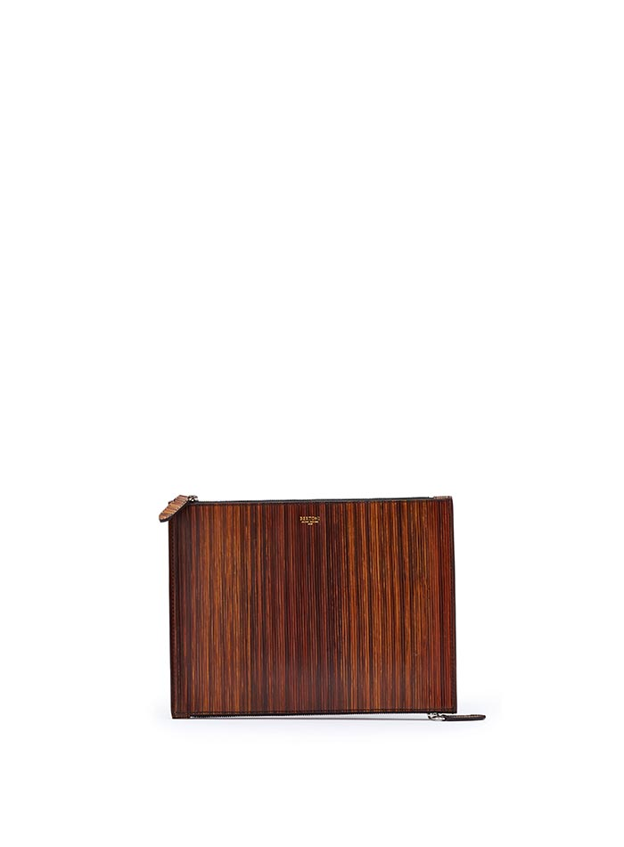The wood effect wood leather Zip Pouch zip by Bertoni 1949