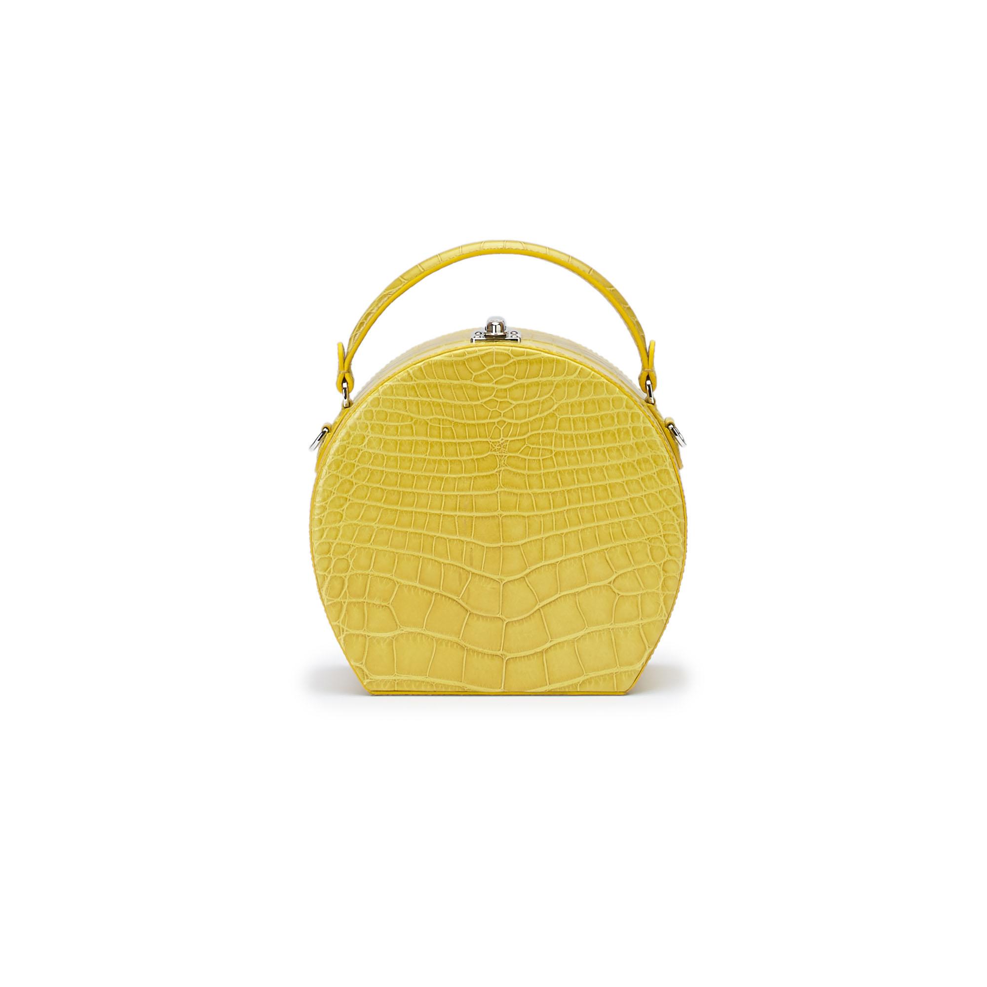 The yellow alligator Regular Bertoncina bag by Bertoni 1949 01