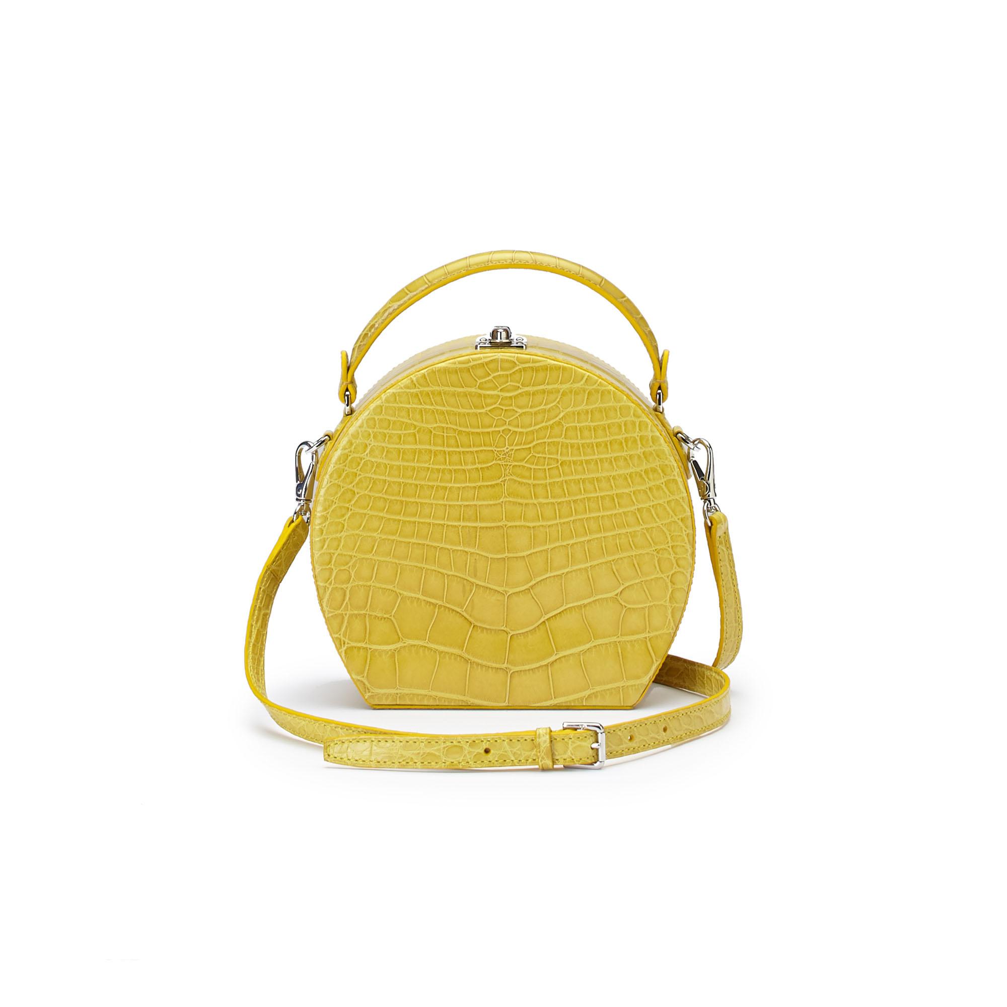 The yellow alligator Regular Bertoncina bag by Bertoni 1949 03