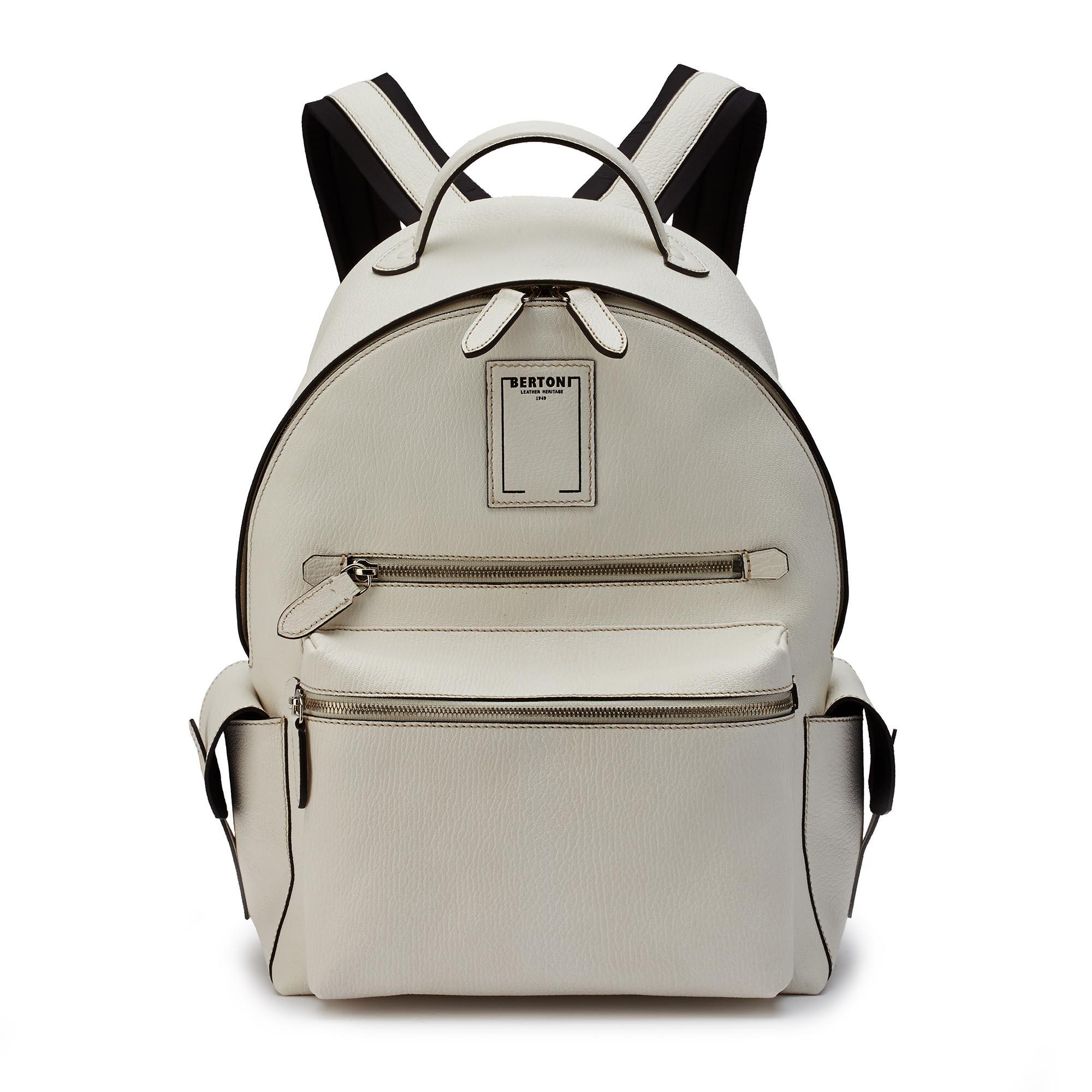 Zip-Backpack-ivory-goat-skin-Bertoni-1949